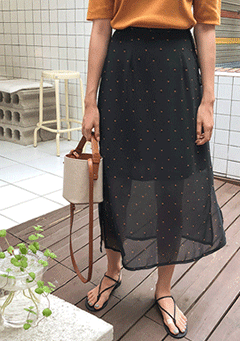 Succulent Layered Polka-Dot Midi Skirt