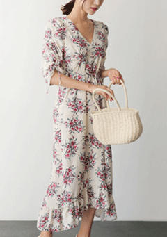 Shirring Sleeves Floral Frill Dress