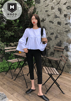 Muara Raw-Hem Flare Black Denim Jeans