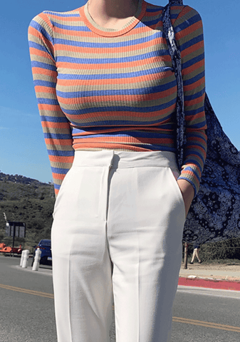 Sunsets Are My Proof Stripes Ribbed Top