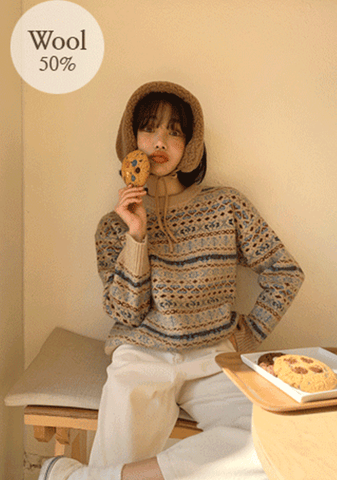 Late In The Evening Pattern Wool Sweater