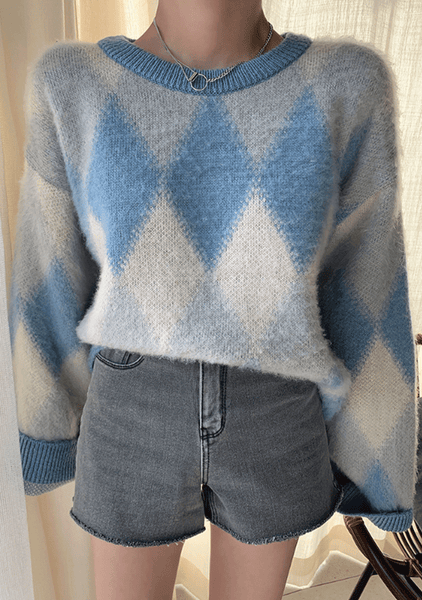 Dreamgirl Diamond Pattern Knit Sweater