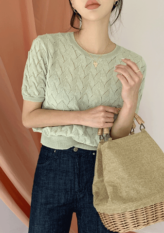 Sesame Panna Cotta Linen Knit Top