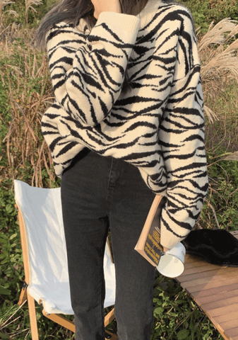 Perfectly Out Of Place Zebra Print Knit Sweater