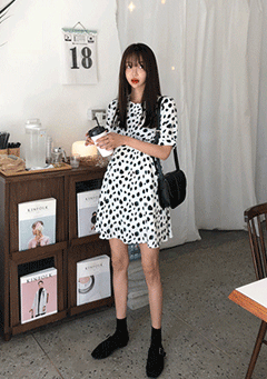 Dalmatian Style Puffed Mini Dress