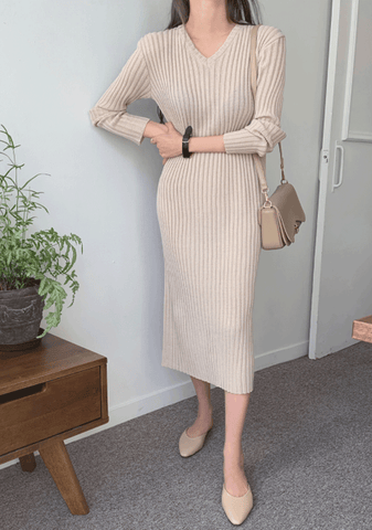 Some Inspiration Ribbed Long Dress