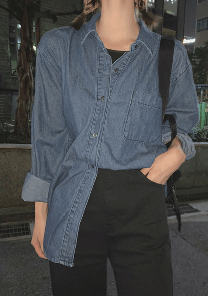 Magnetic Denim Tied Front Shirt