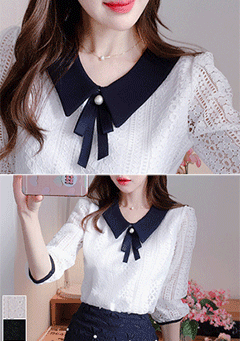Innocent Girlish Ribbon Blouse