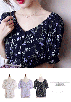 Freesia Flower Print V Neck Blouse
