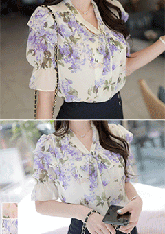 Borgo Floral Prints Puffed Shoulder Blouse
