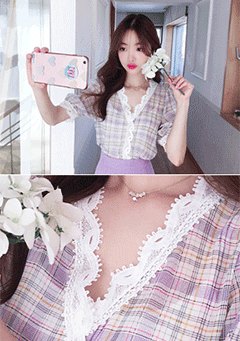 Cioriano Lace Details Neck Plaid Pattern Blouse
