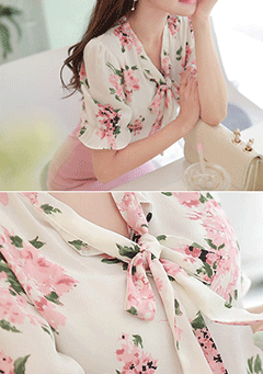 Trapani Pink Flower Print Ribbon Neck Blouse