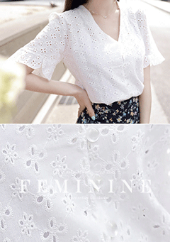 Catania Lace Embroidered V Neck Blouse