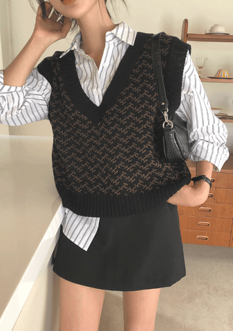 Love Without Measure Patterned Knit Vest