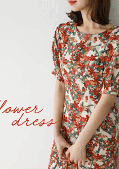 My Flower Dream Puffed Shoulder Dress
