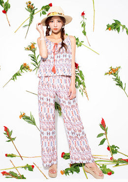 Like Its Summer Diamond Ethnic Patterned Pants