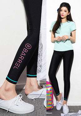 CHUU<BR>Venice Water Leggings-Black Pink