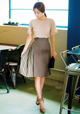Obscured Curtain Striped Panel A-Line Skirt