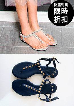 [SALE] Cold City Girl Studded Thong Strap Sandals