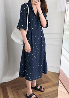 Clouds of Hearts Collar Neck Midi Dress