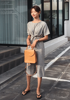 Mentone Check Pattern Tie Waist Midi Dress