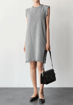 Husser Tweed Raw-Hem Dress