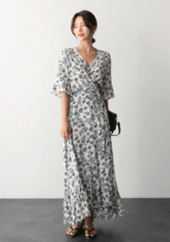 Paisley Feather Draped Maxi Dress