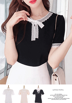 Caira Lace Details Neck Top