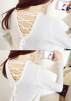 Back Netting Knit Top