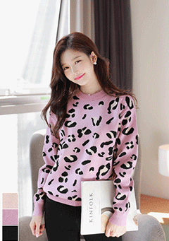 You Will See Leo Print Knit Sweater