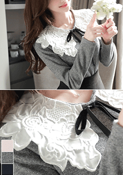 Stormy Weather Lace Collar Knit Top