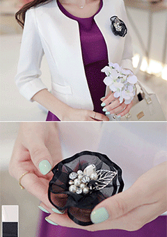 Pomezia Flower Brooch Jacket