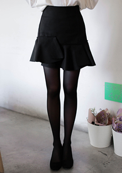 Patch Layered Frill Hem Skirt
