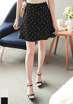 Pado Banded Polka-Dot Gathered Mini Skirt