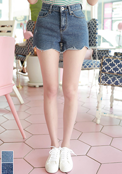 Wave Cut Denim Shorts