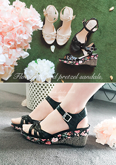 Edgy Flower Wedge Sandals