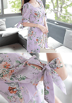 Mineo Purple Vintage Flower Print Midi Dress