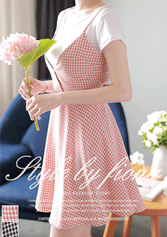 Canicatti Gingham V Neck Cami Dress
