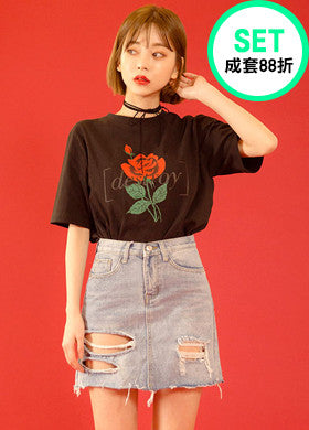 Attraction of Flowers Print Tee + Too Much Torn Denim Skirt