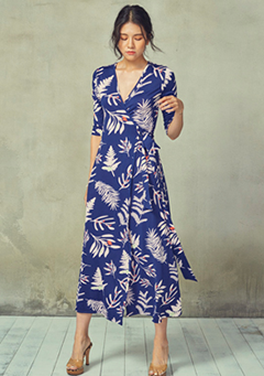 Tree Leaves Wrap Dress