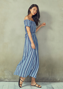 Buttoned Off Shoulder Long Dress