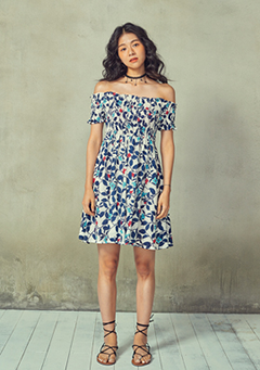 Off Shoulder Printed Mini Dress