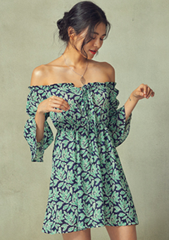 Fresh Leaves Off Shoulder Dress