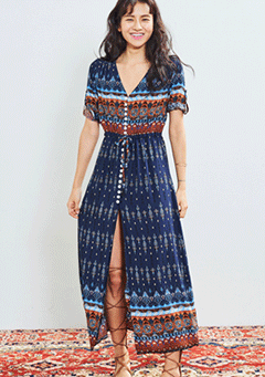 Ethnic Button Long Robe Dress