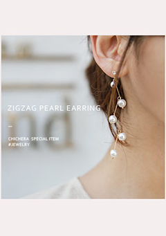 Zigzag Pearl Earrings