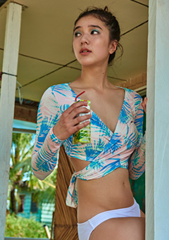 Pastel Palm Tree Wrap Rashguard