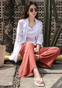 Pulau Wide Legs Peg Trousers