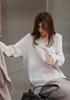 Cross Neck Oversized Knit