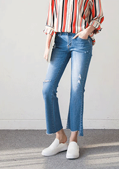 Line Cutting Wideleg Jeans