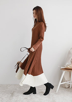 Block Hem Maxi Knit Dress